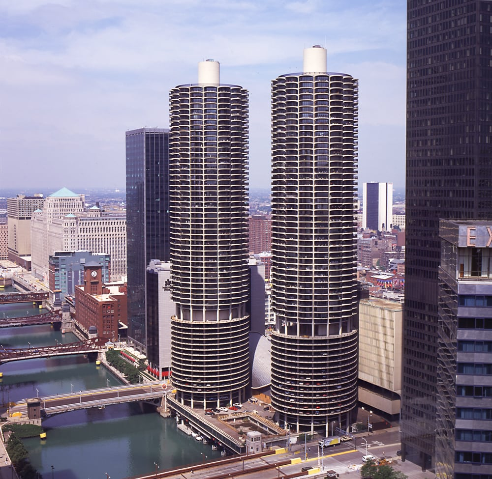 Architectural shot of Marina Towers in Chicago from midway up towers height Architectural Photography