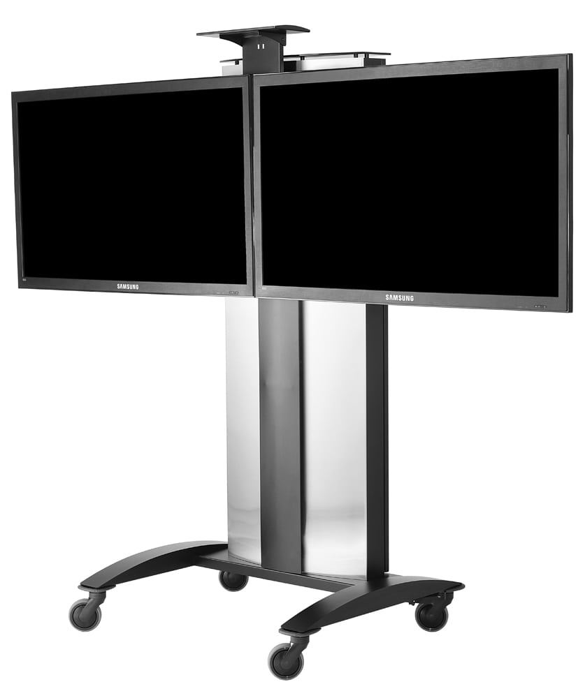 Two large tv screens mounted side-by-side on silver metal display stand with four roller wheels Product Photography