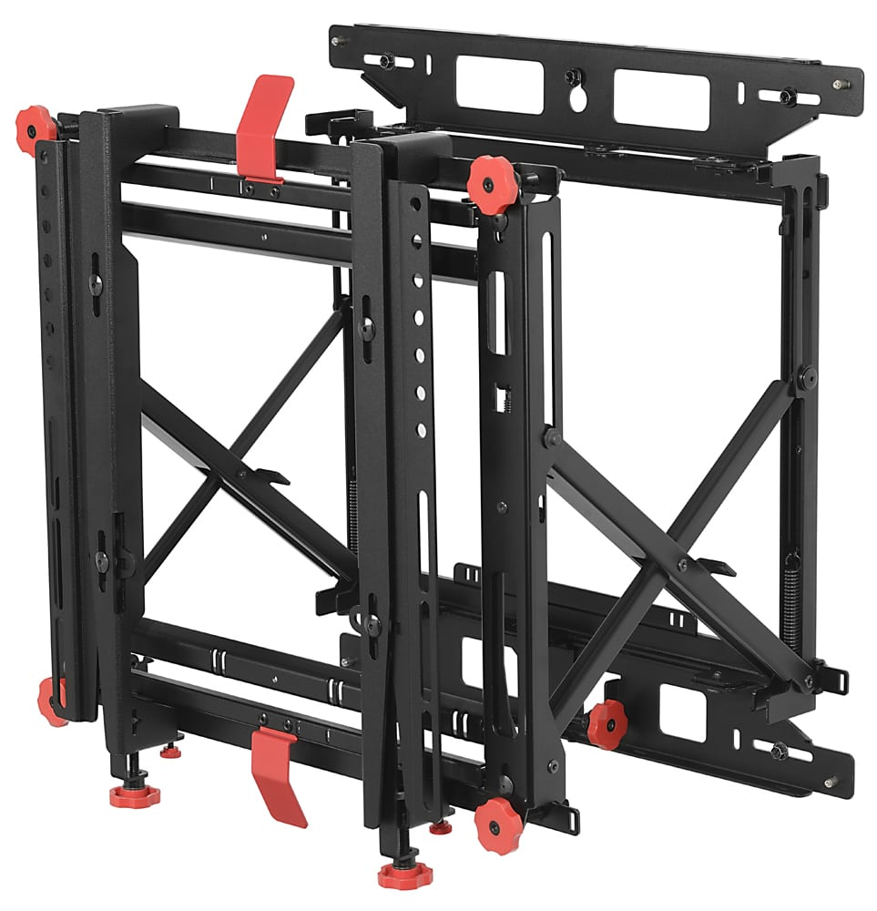 black tv screen mounting bracket with red knobs and handles Product Photography