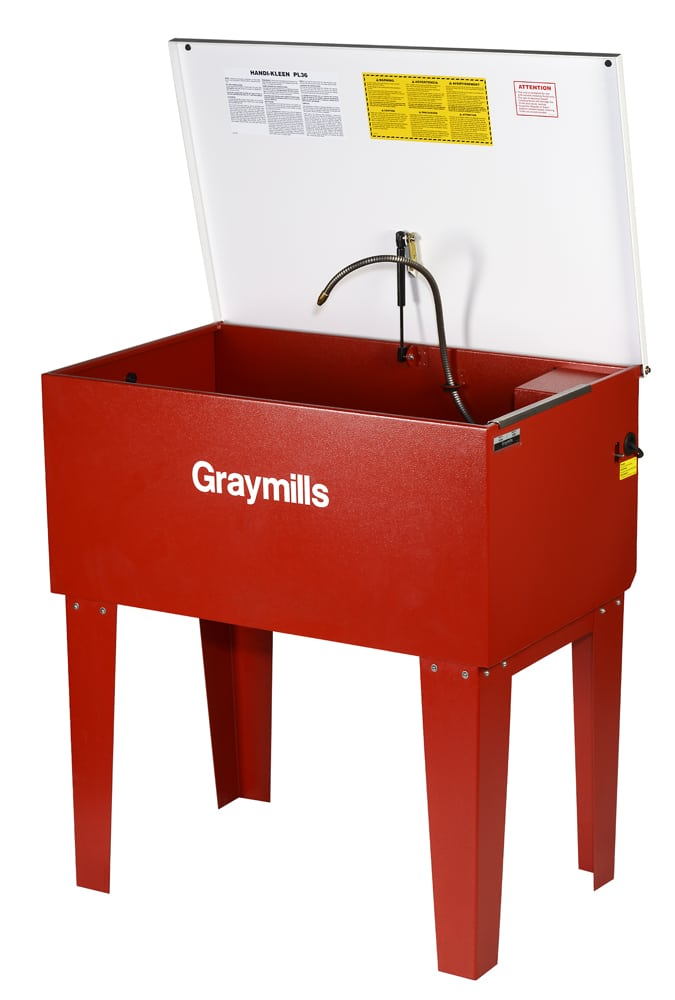 3/4 angle product shot of red waist high industrial washing sink with white lid hinged up and spray nozzle suspended out of sink Product Photography