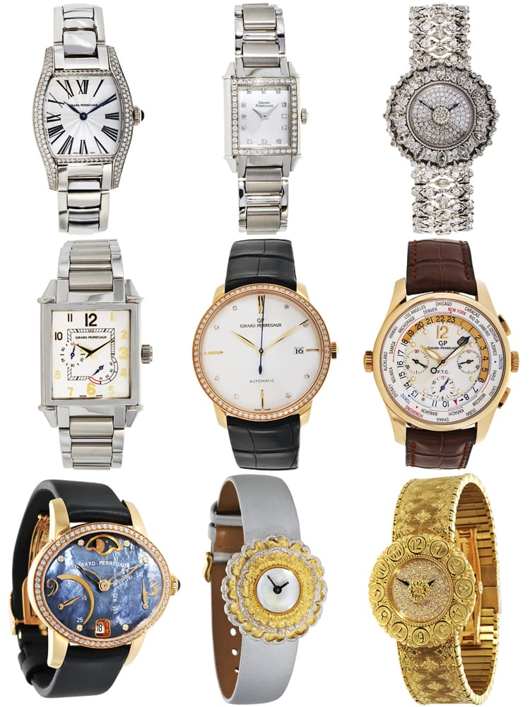 Grid of nine watches facing forward on white background Product Photography