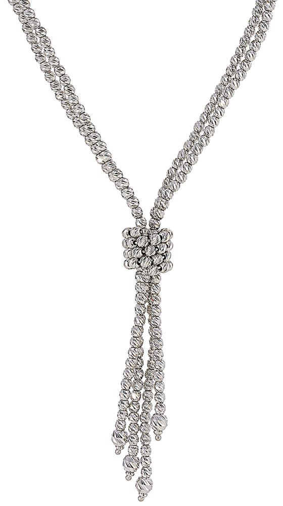 Textured silver beaded bola with four strands and circled in center with beads for length adjustment