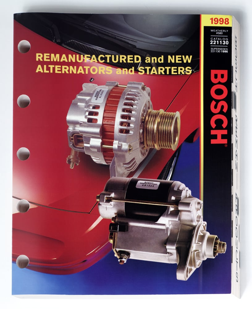 Catalog cover for Bosch featuring two photos of alternators Product Photography