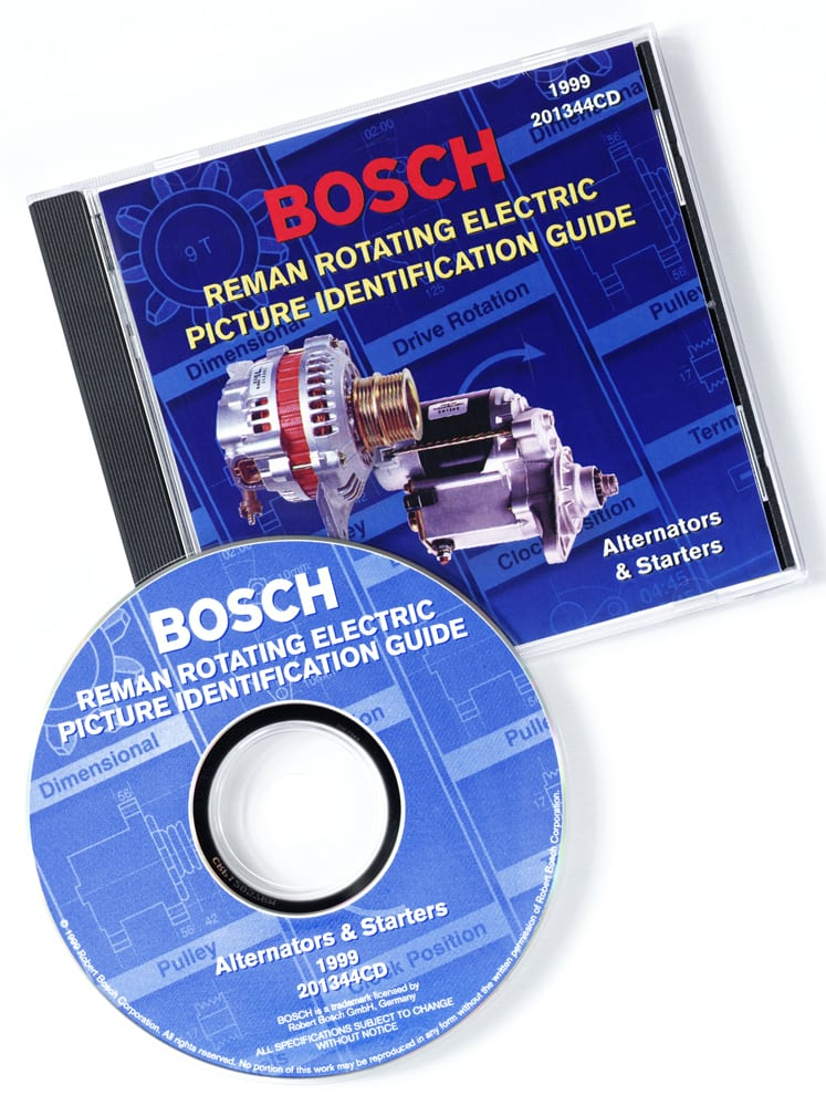 CD cover for Bosch featuring two photos of alternators Product Photography