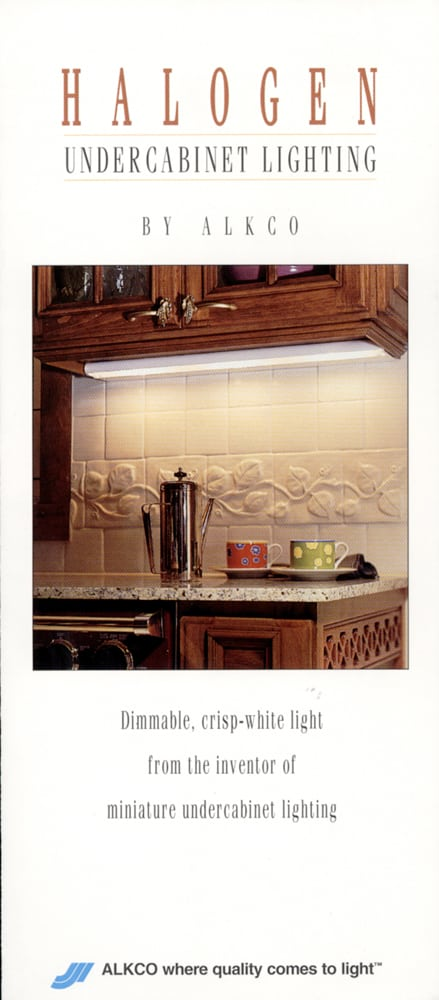 Brochure cover for Halogen Undercabinet Lighting showing a strip of light under wood cabinet and counter under with coffee Product Photography
