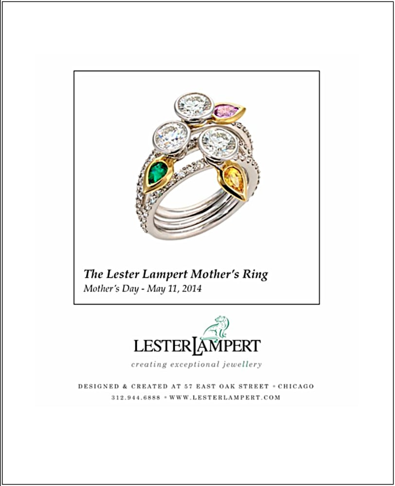 Ad Page for Lester Lampert Jewelers Mother's Rings featuring a stack of 3 platinum diamond rings, each with a moveable 'leaf' with a different color stone mounted in gold leaf. Jewelry Photography