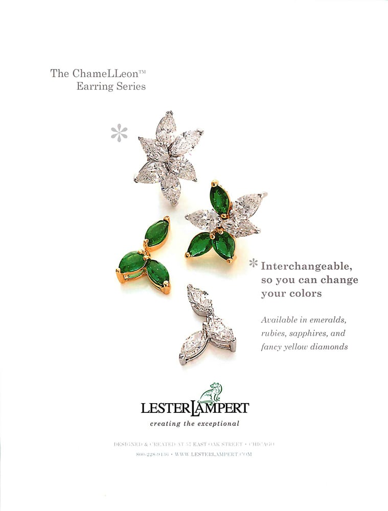 Ad Page for Lester Lampert Diamond and Emerald earrings featuring a photo illustrating interchangeable parts Jewelry Photography