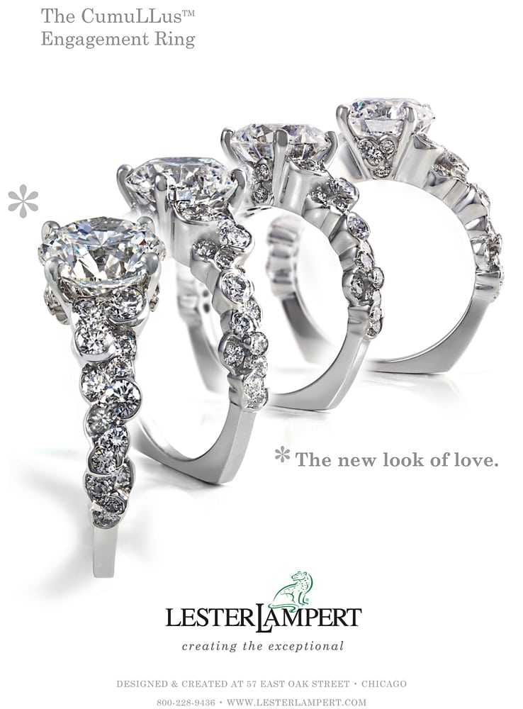 """Ad Page for Lester Lampert Jereler featuring an overlay of four images of a large platinum and diamond ring in four different angles. Tag line """"The new look of love"""" Jewelry Photography"""