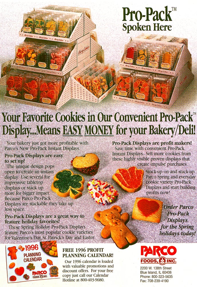 Ad Page for Parco Foods, Inc featuring display boxes of cookies and an assortment of cookie designs in front Product Photography