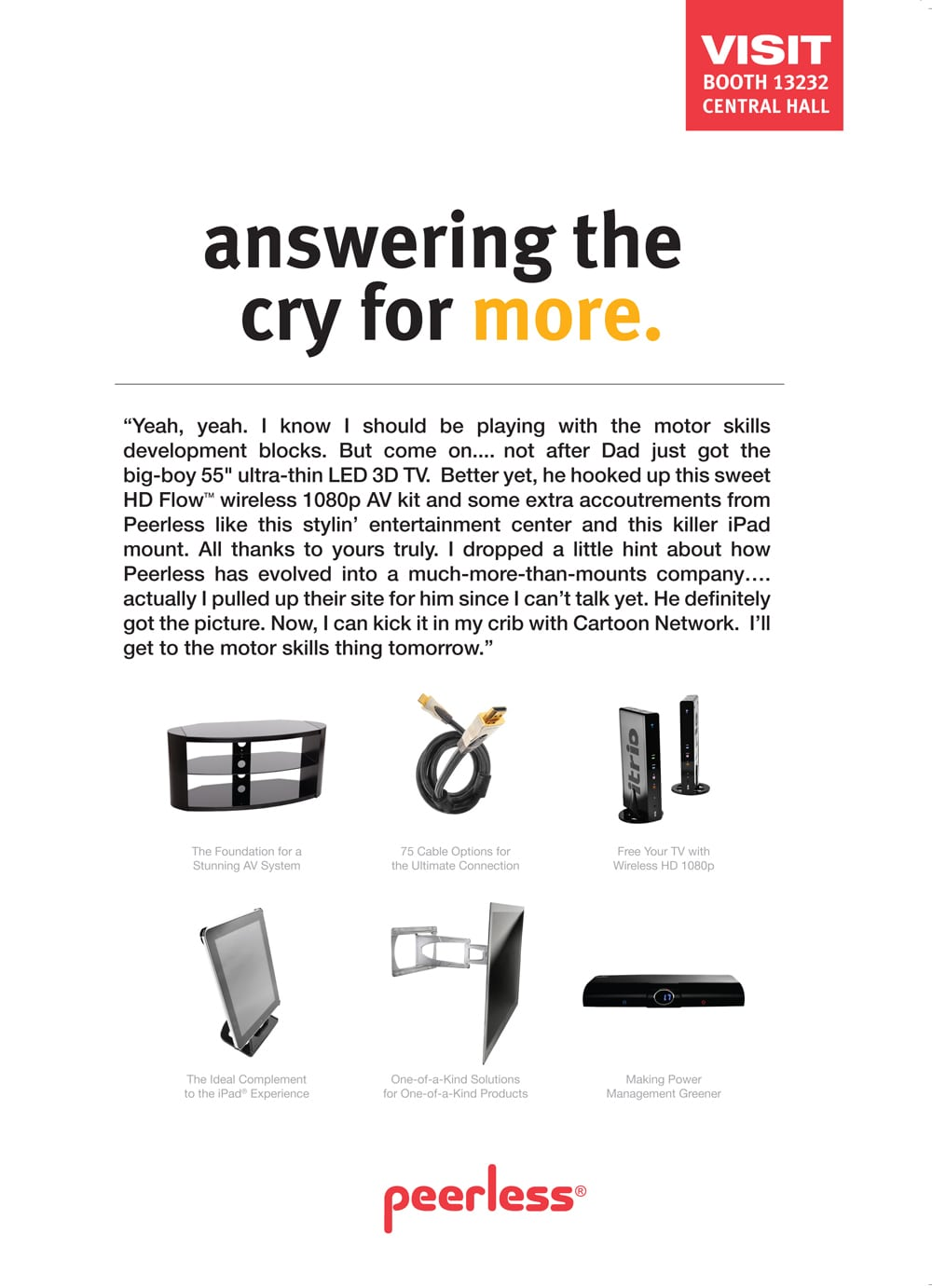 """Ad Page for Peerless accessories featuring product shots of items and headline of """"answering the cry for more"""" Product Photography"""