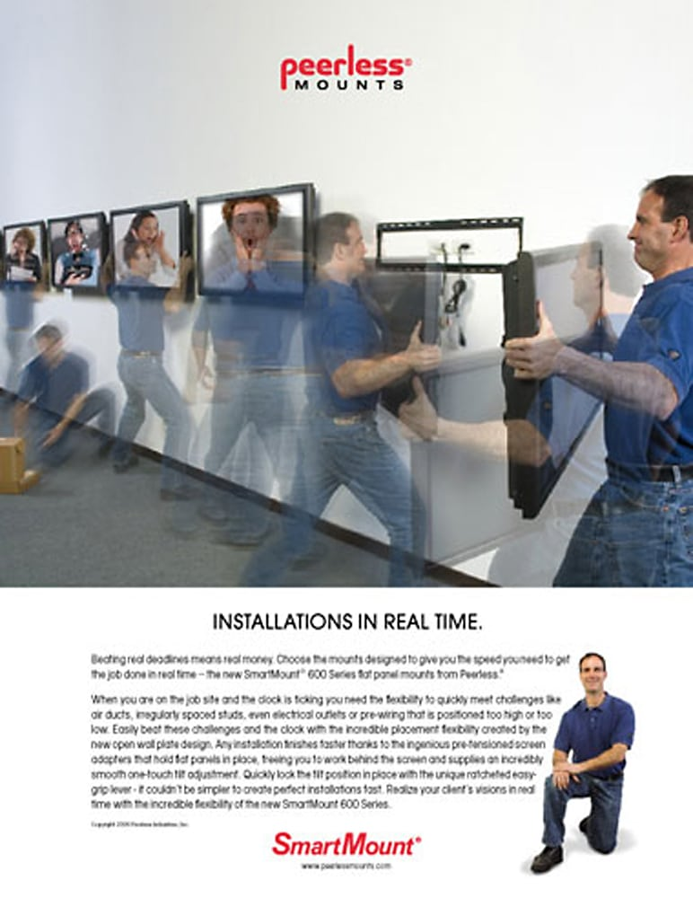 Ad Page for Peerless Mounts featuring manipulated photo illustrating a worker mounting tvs on a wall Product Photography