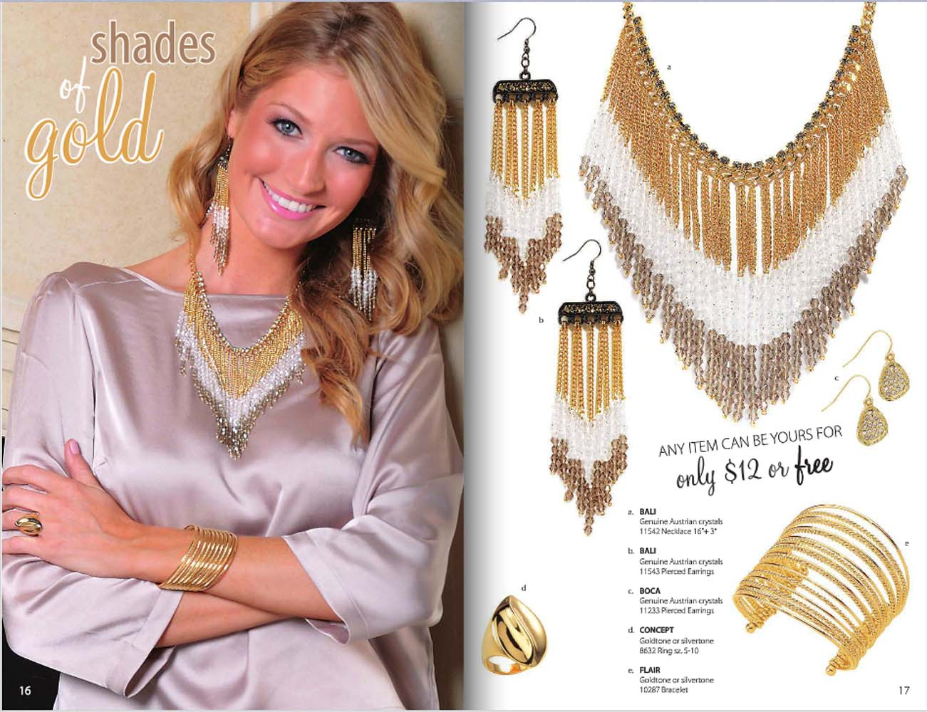 Catalog pages from Park Lane jewelry catalog showing model on left wearing gold and silver set and product shots on right with prices