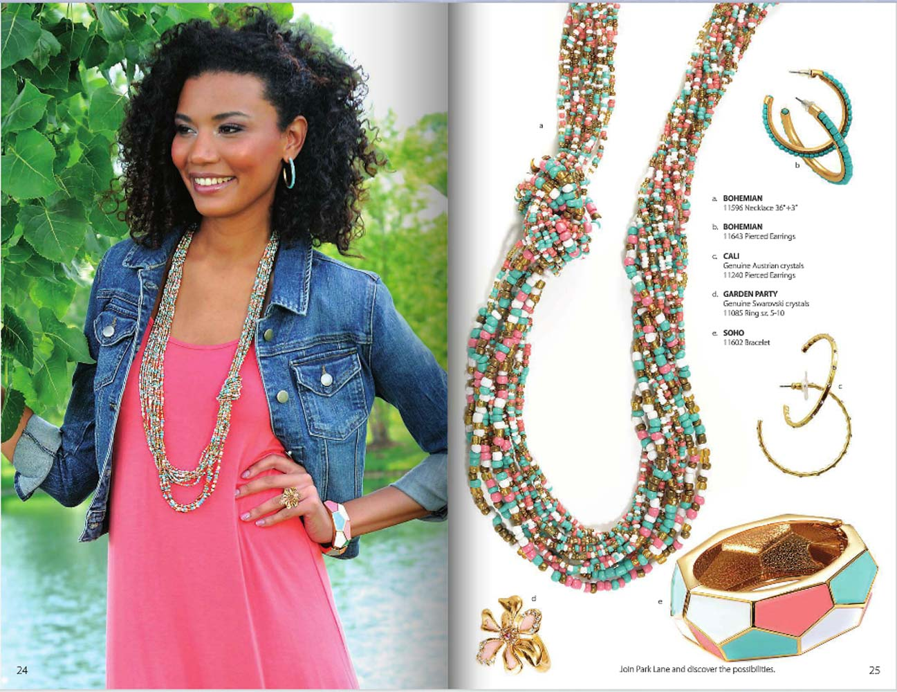 Catalog pages of Park Lane jewelry catalog showing black woman on left wearing jeans jacket and long beaded necklace and product shots of jewelry on right with prices Jewelry Photography