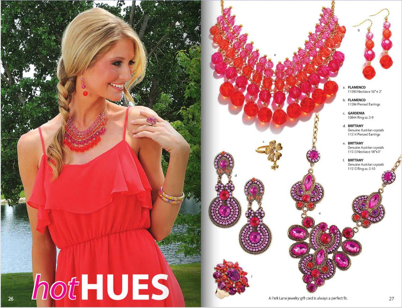 Catalog pages of Park Lane jewelry catalog with blonde model on left wearing pink dress and pink and red beaded jewelry set and product shots of jewelry on right with prices Jewelry Photography