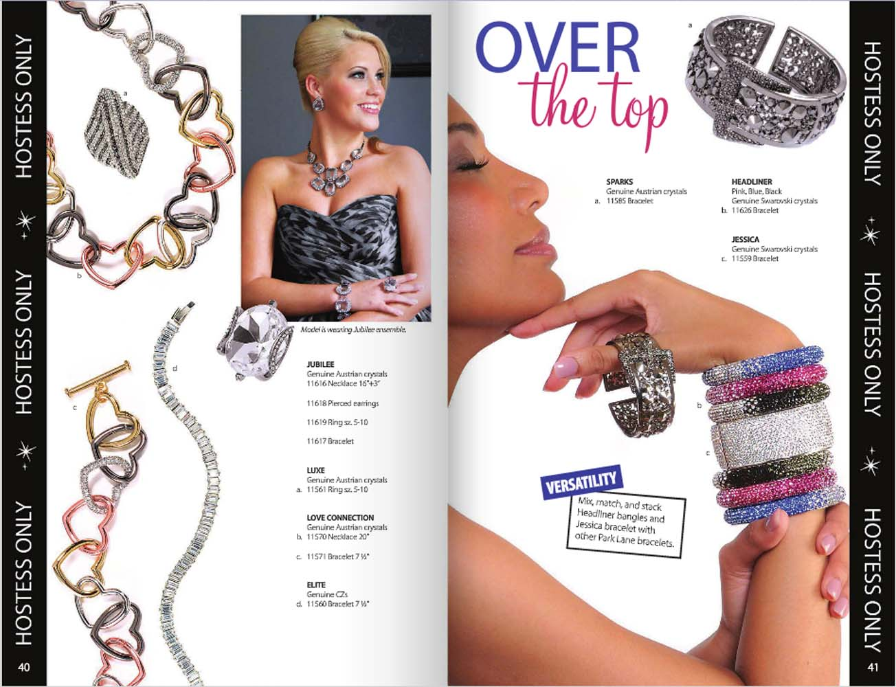 """Catalog pages from Park Lane jewelry catalog with heart shaped chains featured on the left and inset shot of designer woman and on right model shot of woman holding sparkly bangles on wrist and thumb with """"Over the top"""" caption Jewelry Photography"""