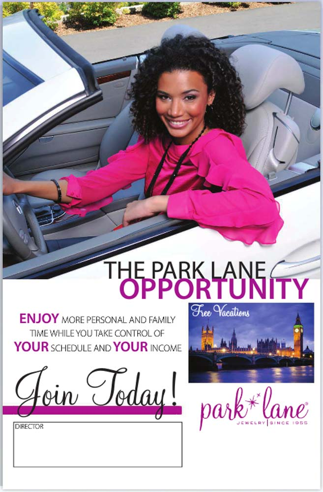 Catalog page from Park Lane Jewelry Catalog showing black female woman in pink top sitting in gray Mercedes convertible wearing black beaded necklace and bracelet and copy below Jewelry Photography