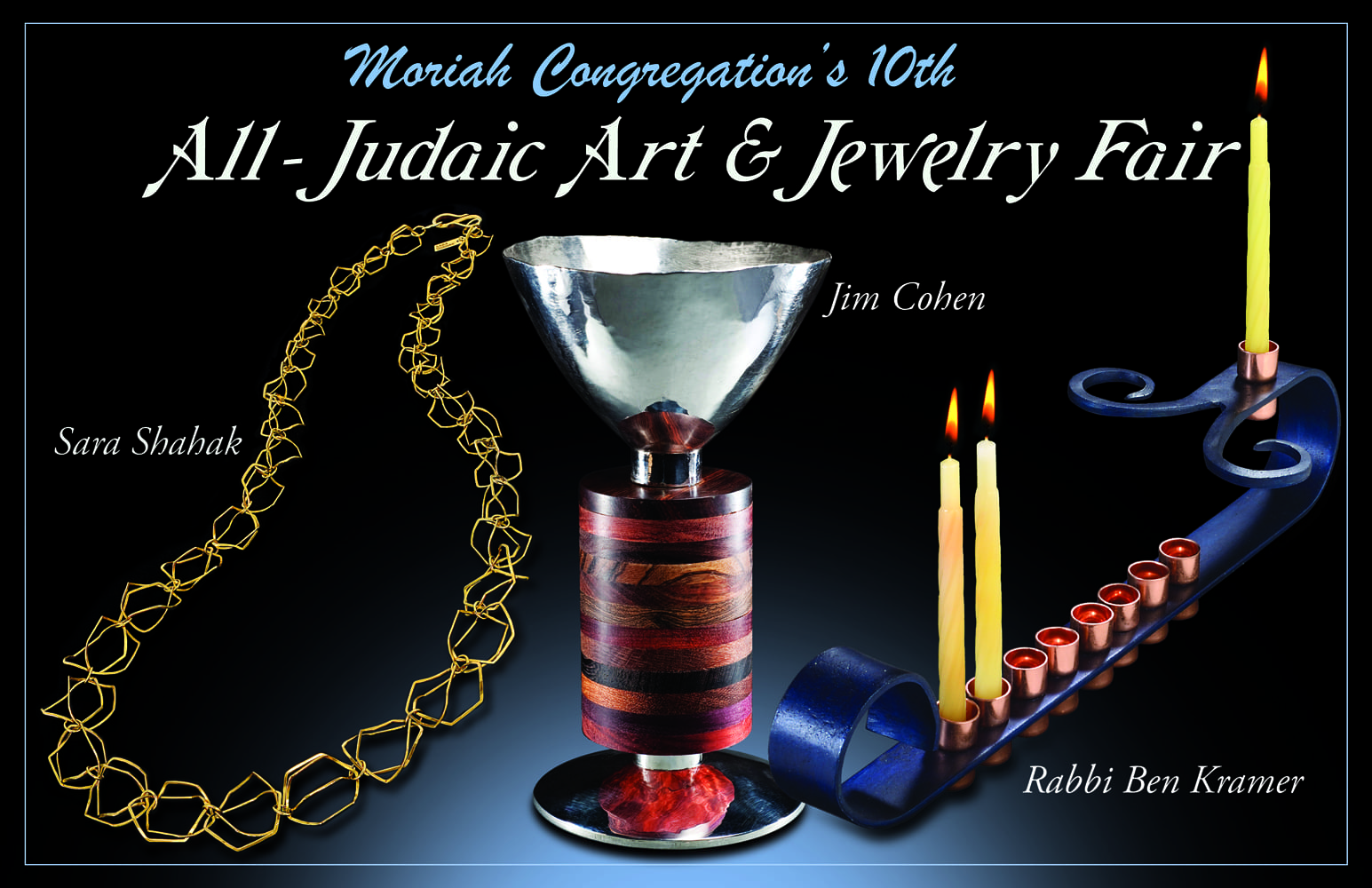 """Post card showing Kiddush Cup, blue metal Menorah with lit candles and gold link chain on blue background with title """"All-Judaic Art and Jewelry Fair"""" Jewelry Photography"""