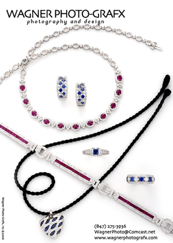"""Post card layout of jewelry arrangement of diamond, ruby and sapphire necklaces, rings and bracelet with title """"Wagner Photo-Grafx"""" at top Jewelry Photography"""