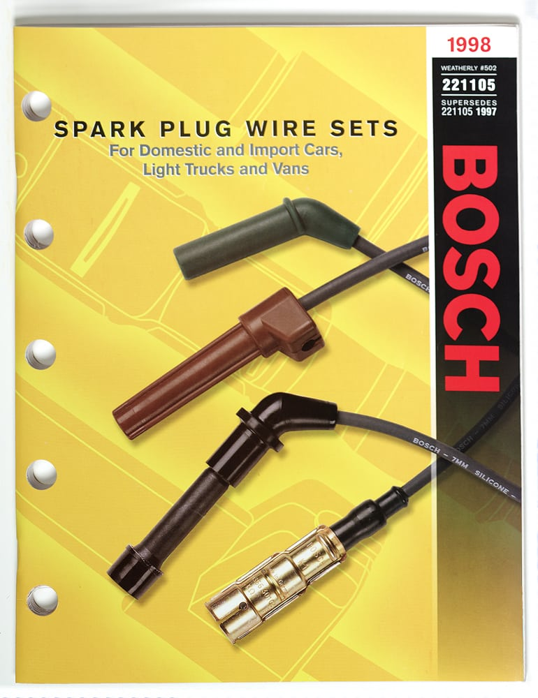Catalog page cover of four Spark Plug Wire sets on yellow patterned background with large red BOSCH logo on right Product Photography