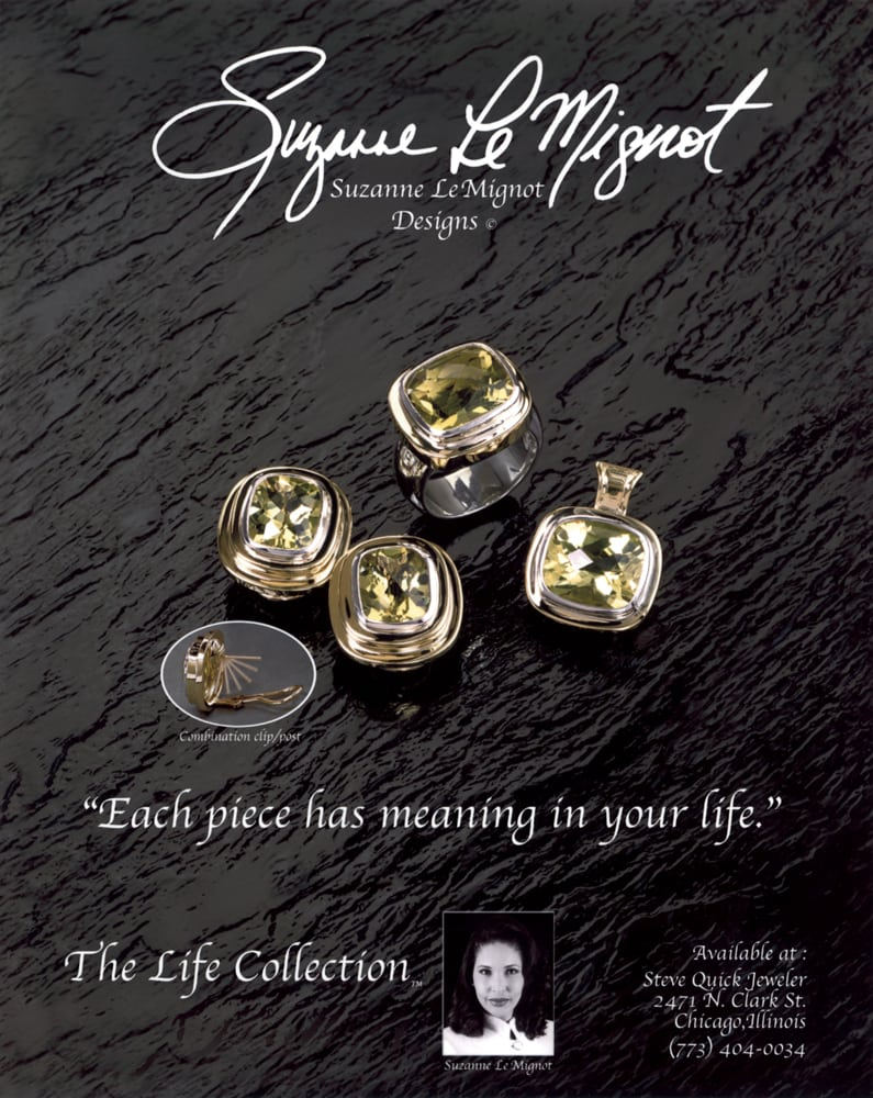Ad page for Suzanne Le Mignot Designs jewelry showing set of yellow stone and gold earrings, ring and pendant on wavy black background and small inset shot of Suzanne at bottom Jewelry Photography
