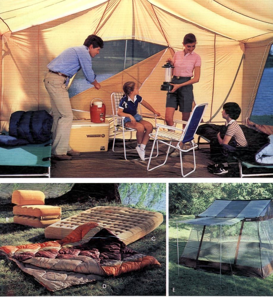 Catalog page of On location shots of tents and camping equipment featuring interior photo of large yellow tent with family sitting on cots and folding chairs Product Photography