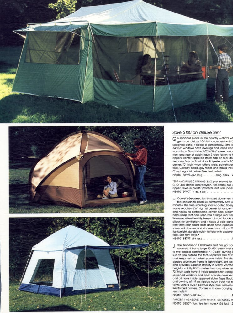 Catalog page on on location shots of tents with large green tent at top, brown dome tent in middle and blue square tent in bottom photo. Top two shots have models in them Product Photography