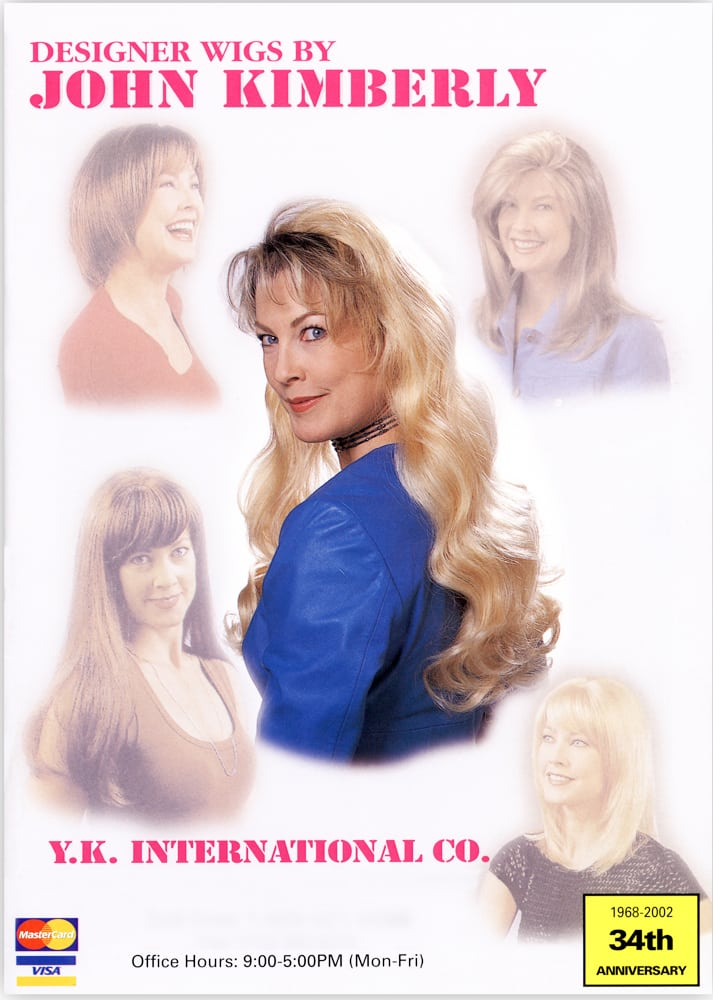 Wig catalog cover for John Kimberly wigs featuring a model shot with long blonde hair in middle surrounded by four other model shots with different style wigs. Product Photography