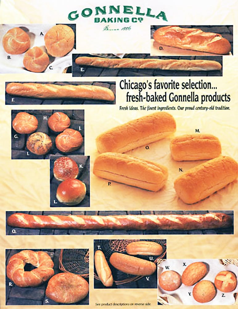 Gonnella Baking Company catalog front cover showing 11 photos of different breads Product Photography