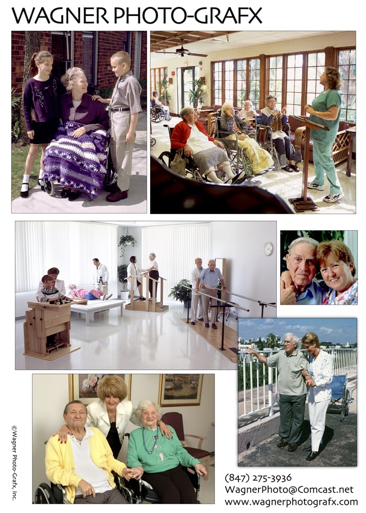 Ad for Wagner Photo-Grafx showing six photos of scenes from nursing homes Corporate Photography