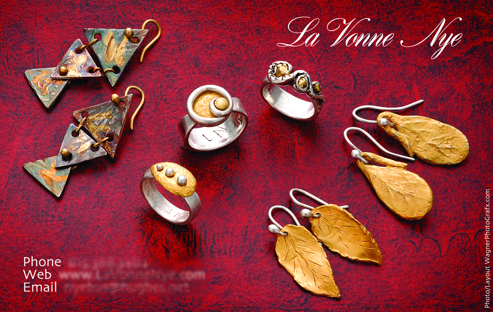 Ad page for La Vonne Nye jewelry featuring pair of fish shapped earrings made of three triangles of precious metal, three silver and gold rings with different designs on top, two additional pairs of gold earrings in leaf shapes Jewelry Photography