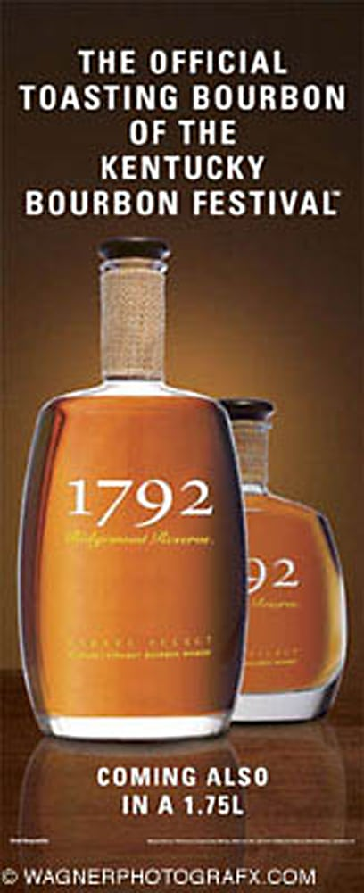 product shot of two sizes of 1792 Whisky bottles on brown glow background with larger bottle in front of the smaller one Product Photography
