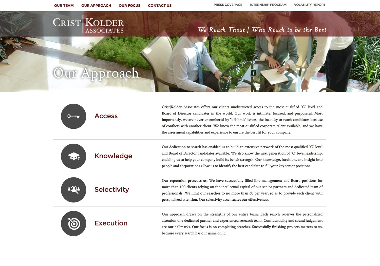 Web page for Crist Kolder Associates Our Approach page with photo of office workers in discussion around glass table with greenery behind Corporate Photography