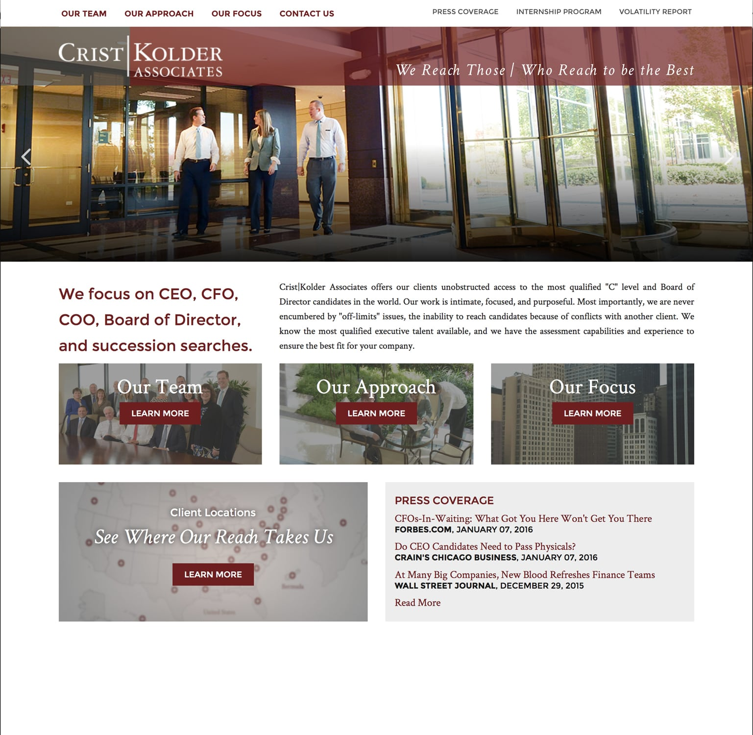 Web page for Crist Kolder Associates Focus page with photo of office workers walking in lobby of building with revolving doors to the Corporate Photography