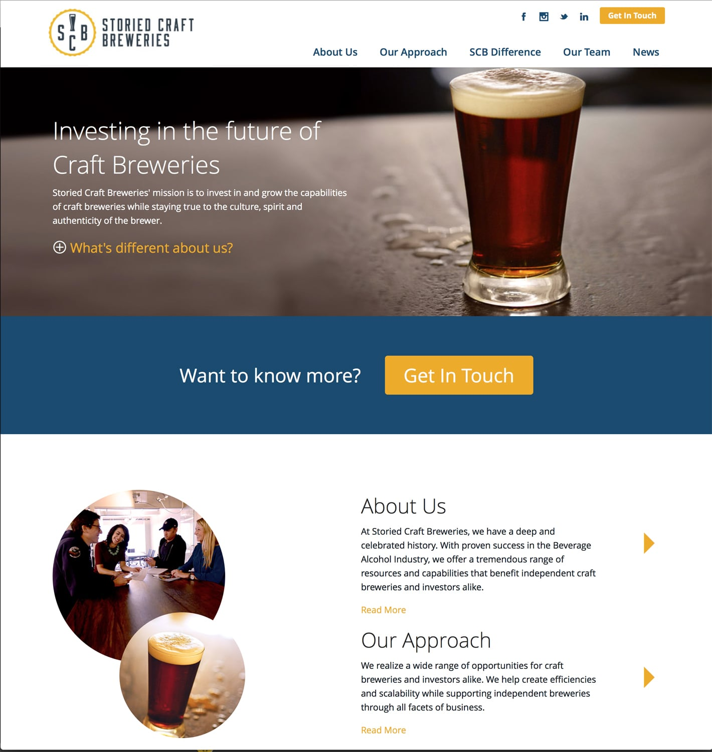 Storied Craft Breweries Want to Know More web page featuring a beer glass photo with beer and a nice head on stone formica background and some beer splashed. Inset photo below with young workers in discussion around a table. Branding Photography