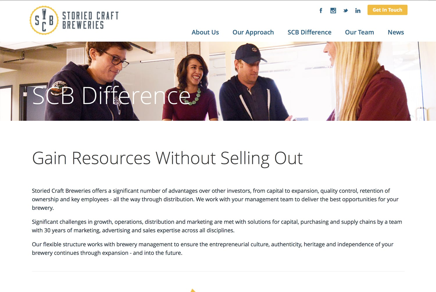Storied Craft Breweries Gain Resources web page featuring a photo with young workers in discussion around a table. Corporate Photography
