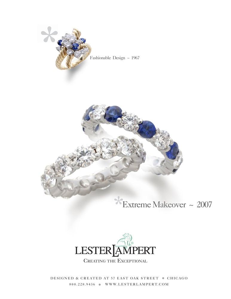 Ad page for Lester Lampert Extreme Makeover ~ 2007 featuring an older ring shot at top and two diamond rings illustrating the makeover in center. Jewelry Photography