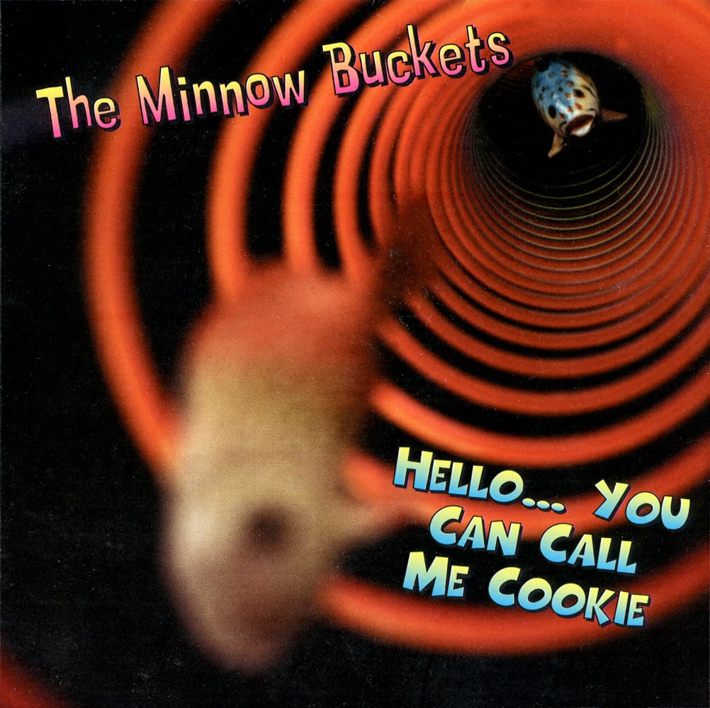 CD album cover for The Minnow Buckets band featuring 2 fish swimming toward us through an orange slinky on black background Product Photography
