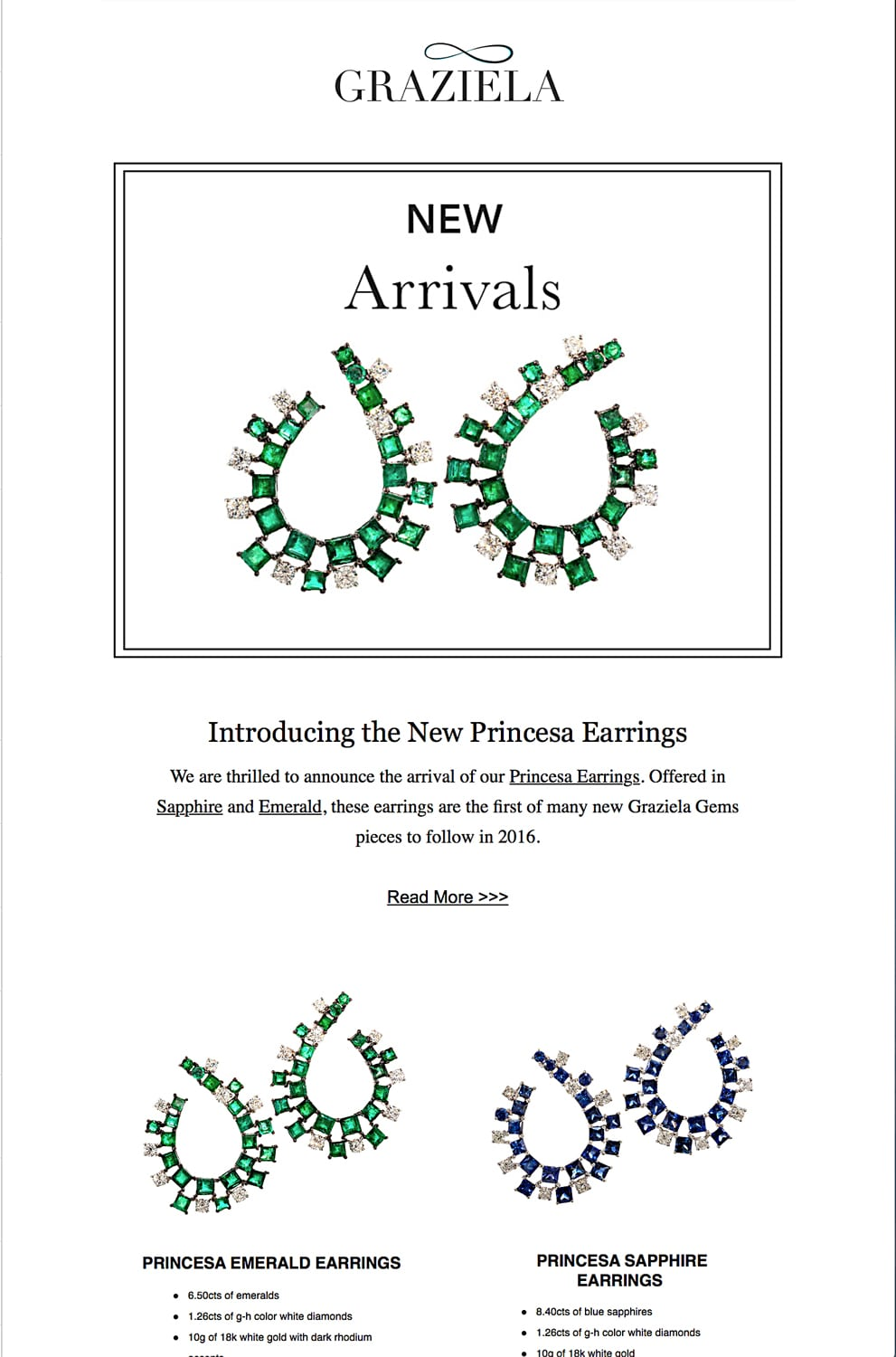 """Ad page for Graziela emerald and sapphire earring sets with feature shot of emerald earrings with headline """"New Arrivals"""" Jewelry Photography"""