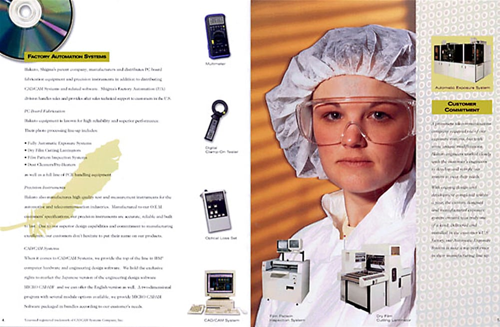 Catalog page for high tech industrial tools with smaller product shots of items surrounding feature shot of clean room female worker in hair wrap and safety goggles and orange light striped background Product Photography Corporate Photography