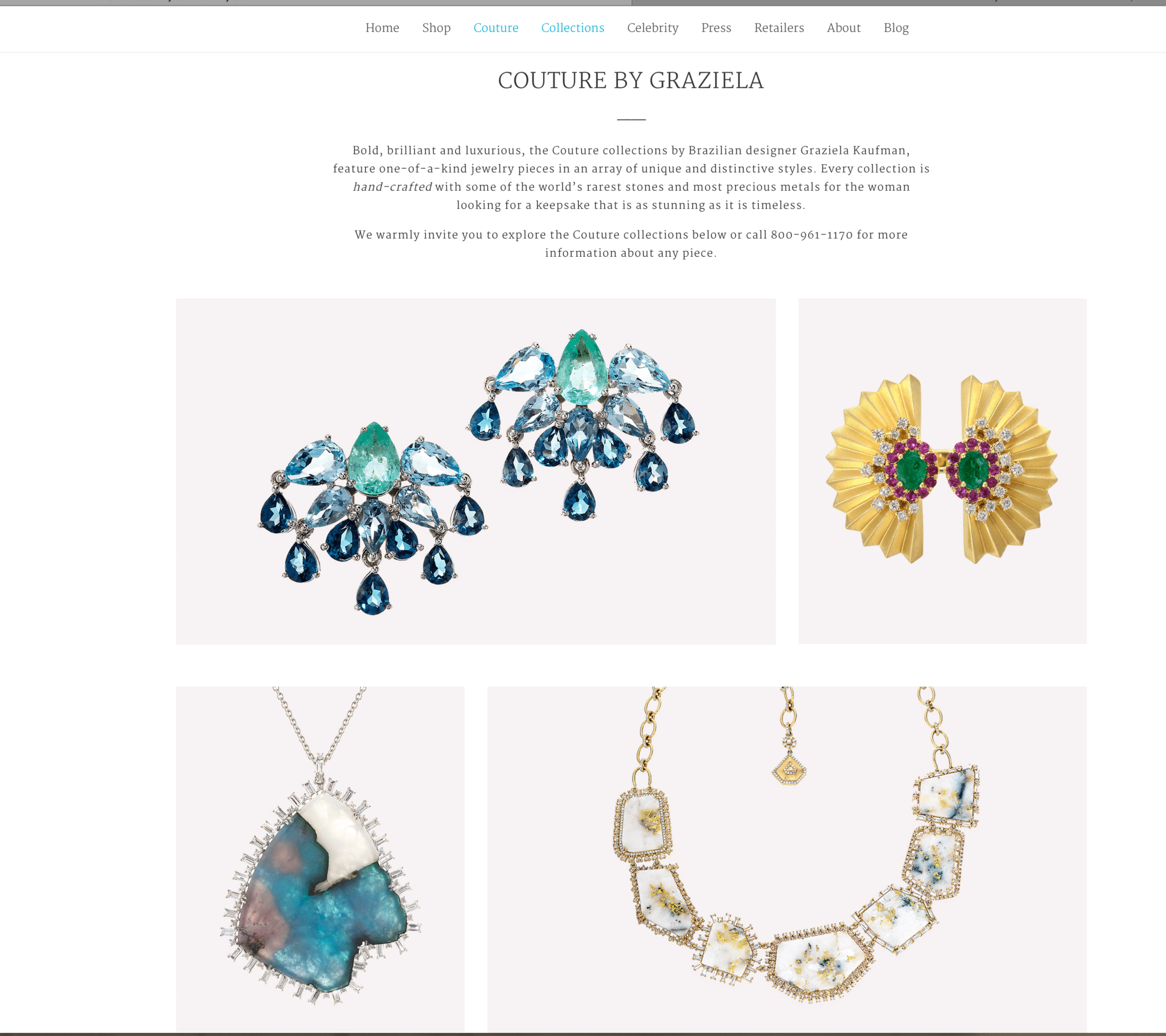 Web page for Graziela Jewelry featuring two photos of fancy earrings and two photos of necklaces Jewelry Photography