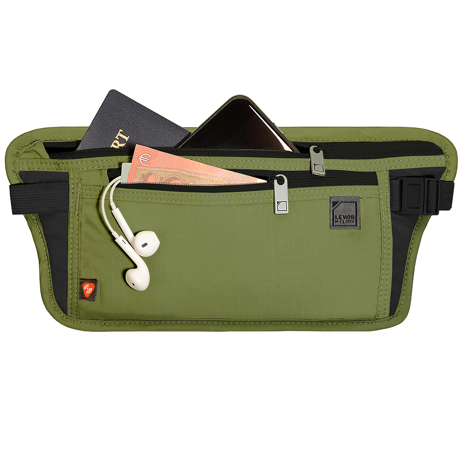 Pea green Travel pack for wearing around waist with zipper pockets holding Euros, headphones and passports Product Photography