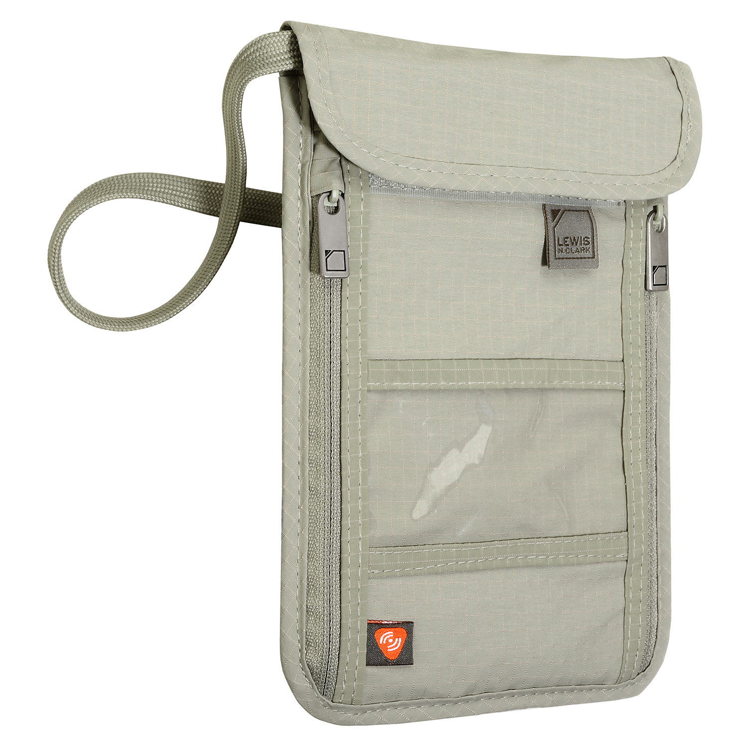 Army gray travel pouch with cord for wearing around neck with zipper pockets and a clear panel on front for ID Product Photography