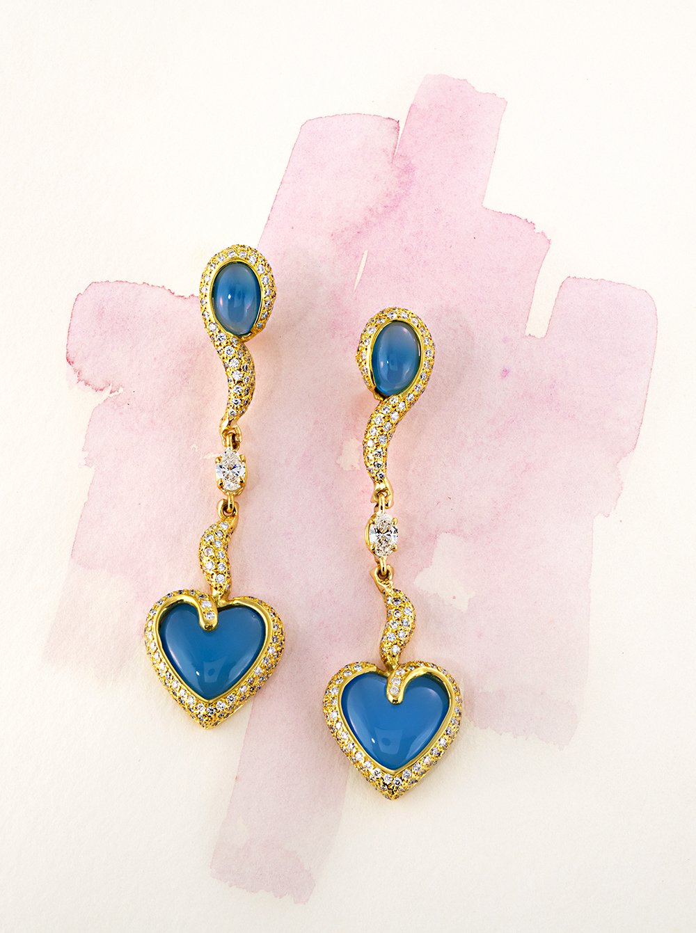 Fancy dangle earrings with Chalcedonay blue oval and heart stones