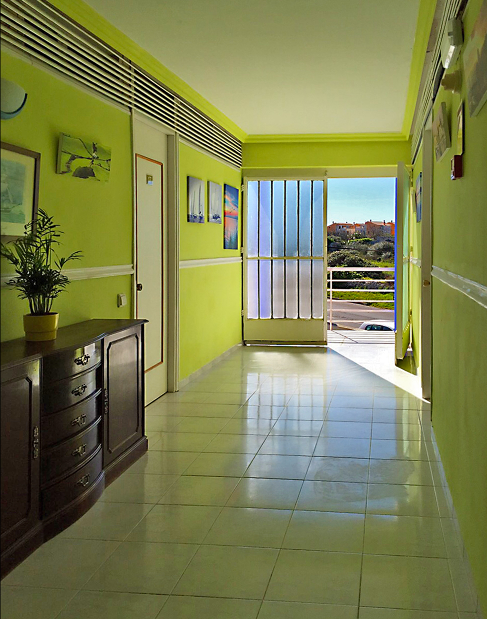 Foyer in apartment with green walls and a gate open to the street Architectural Photography