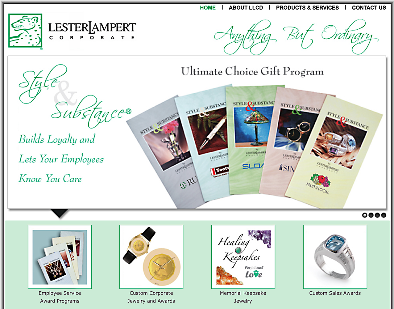 web page from Lester Lampert Corporate web site showing a fan of print brochures of corporate gifts Product Photography
