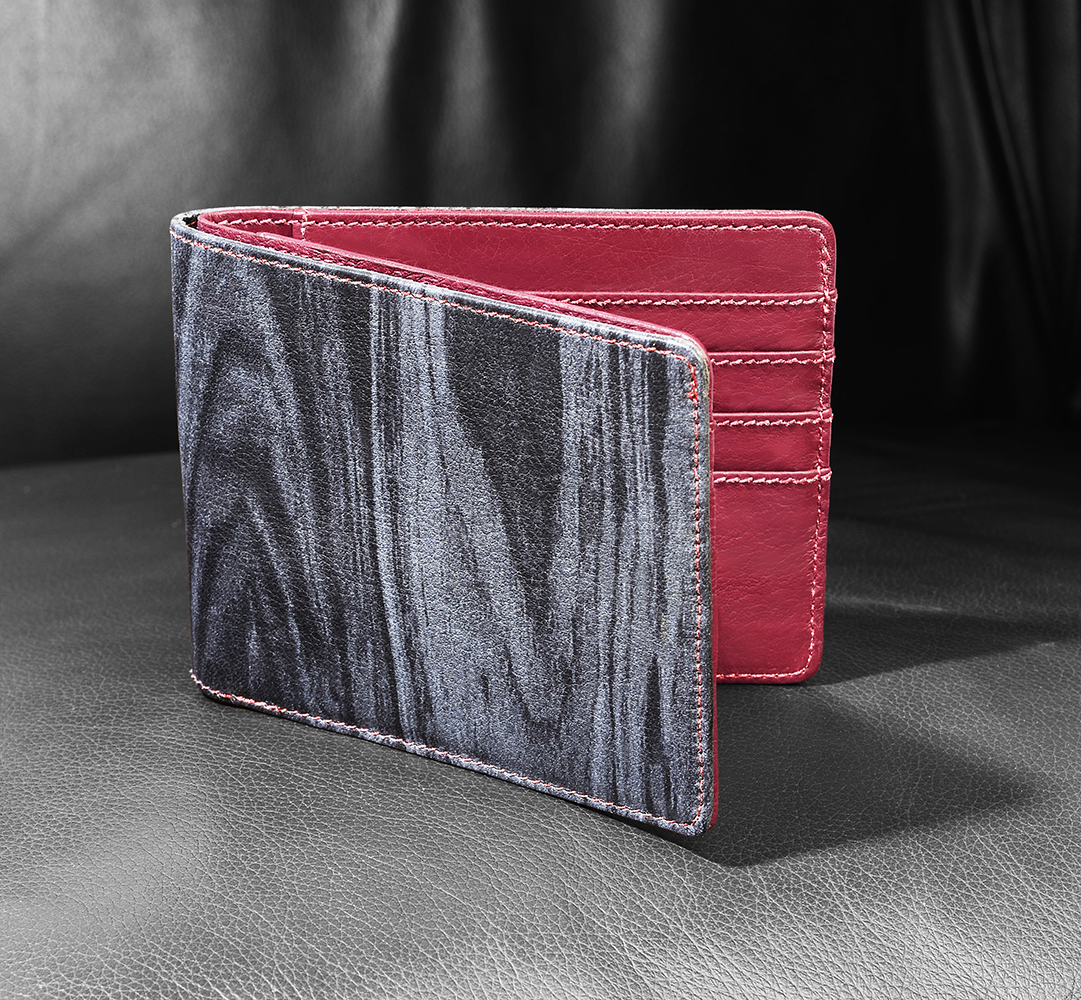Leather wallet with special patterned leather Product Photography