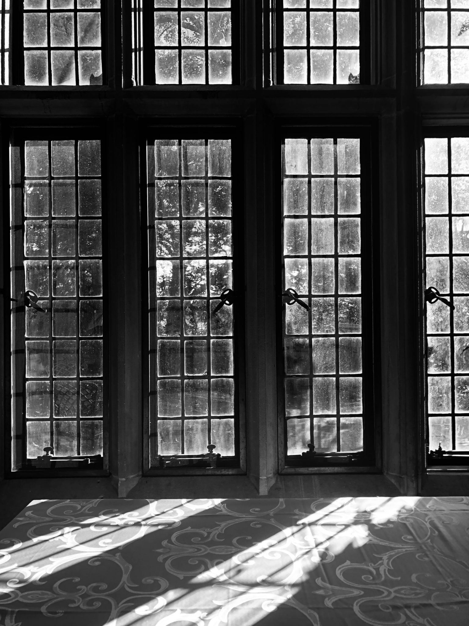Black and white image of antique french doors with light streaming in