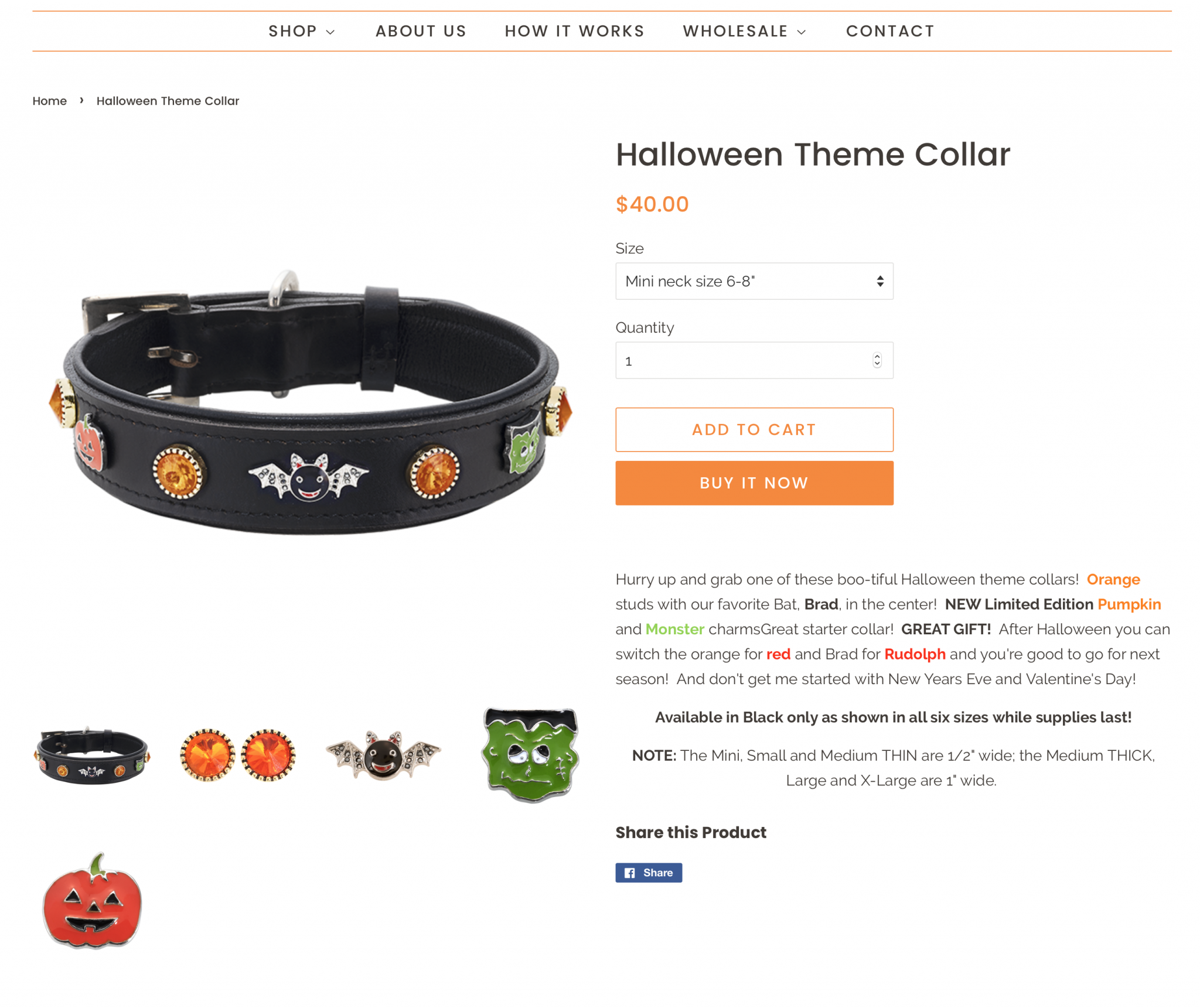 Web page of Halloween themed dog collar with cute charms with individual charms displayed below