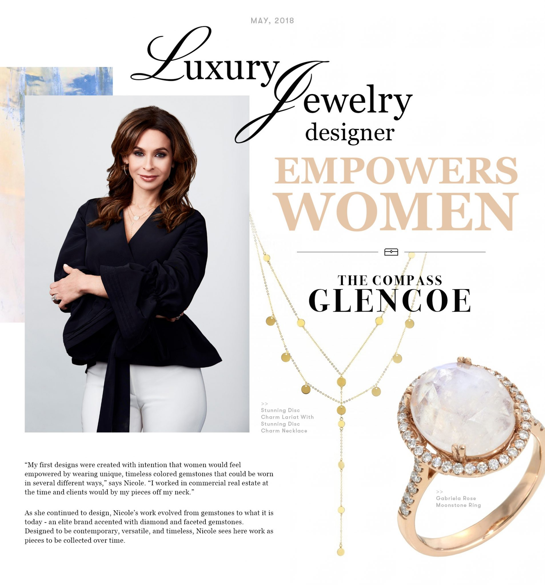 """Ad page showing jewelry photos and female jeweler with headline """"Luxury Jewelry Designer"""""""