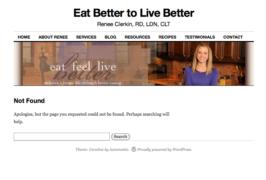 """web site banner of blonde woman smiling on background with headline """"Eat Better to Live Better"""""""
